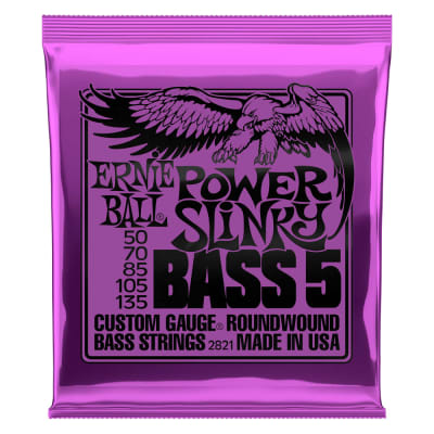 Ernie Ball 2821 Power Slinky 5-String Nickel Wound Electric Bass Strings 50-135 Gauge
