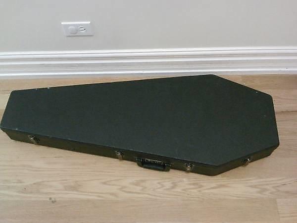 used coffin case hard shell guitar case 2000 2007 black red reverb. Black Bedroom Furniture Sets. Home Design Ideas