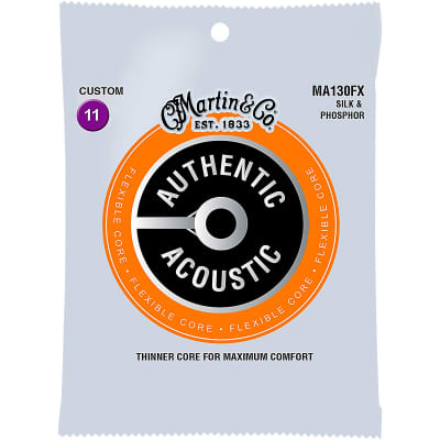 Martin MA130FX Authentic Acoustic Flexible Core Guitar Strings - Custom Silk & Phosphor
