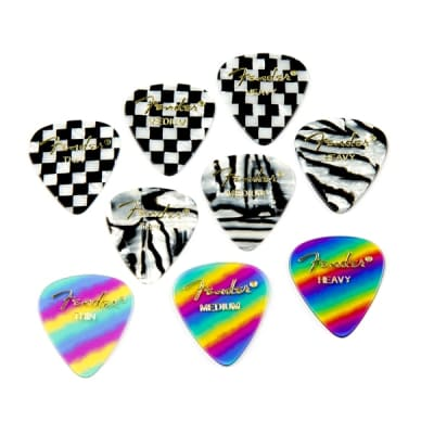 Fender Premium Celluloid 351 Shape Picks Heavy Rainbow 12 Count for sale