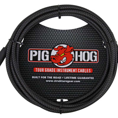 Pig Hog Black Woven Instrument Cable, 10ft w/ FREE SAME DAY SHIPPING