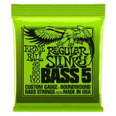 Ernie Ball 2836 Regular Slinky 5-String Bass Set, Long Scale 45-130