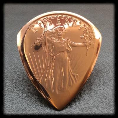 Handmade Guitar Plectrum,  Pick.  Golden State Mint, St Gaudens Cooper Coin Pick.