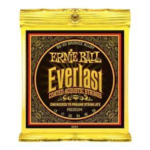 Ernie Ball 2554 Everlast 80/20 Bronze Medium Coated Acoustic Guitar Strings (13-56)
