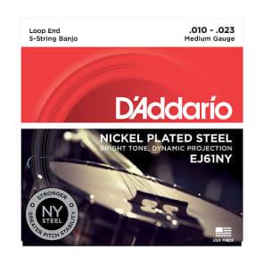 D'Addario EJ61NY NY Nickel Plated Steel Medium Banjo Strings