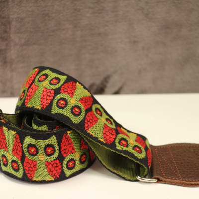 Souldier Owls Olive Guitar Strap with Brown Leather Ends *Free Shipping in the USA*
