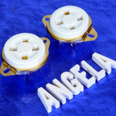 Set Of Two 4 Pin White Ceramic And Gold Vintage Style Top Chassis Mount Tube Socket For 300B, 2A3