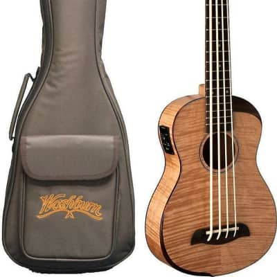 Oscar Schmidt OUB800K Comfort Series Mahogany Neck 4-String Acoustic-Electric Ukulele Bass w/Gig Bag