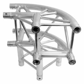 """Global Truss SQ-4126-CR-L90 F34 12"""" Square Truss 1.64'/0.5m Rounded 3-Way 90-Degree Corner Junction"""