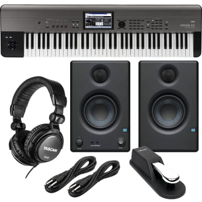 Korg Krome EX 73 – Music Workstation, Presonus Eris3.5, Sustain Pedal, Nektar NX-P, (2) 1/4 Cables, Tascam TH02 Bundle
