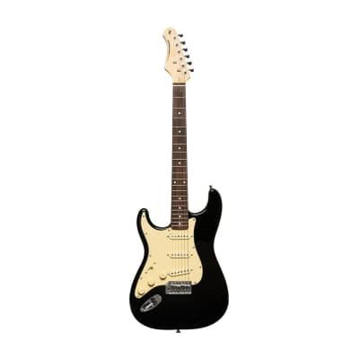 Stagg Left-Handed Electric Guitar - Brilliant Black - SES-30 BK LH