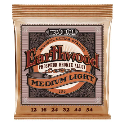 Ernie Ball Earthwood Medium Light Phosphor Bronze Acoustic Guitar Strings 12-54 Gauge