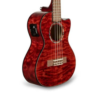 Lanikai QM-RDCET Quilted Maple Red Tenor Ukulele Cutaway w/Electronics & Gig Bag for sale