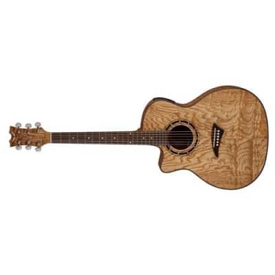 Dean Exotica Quilt Ash A/E Semi Acoustic Lefty Guitar, 21 Fret, D Neck, Rosewood Fingerboard/Fretboard, Glossy Natural