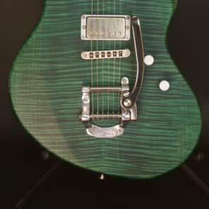 Henman MOD-005US Electric Guitar with B-5 Bigsby, Satin Green Stain - Handcrafted Beauty! for sale