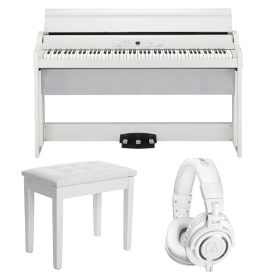 Korg G1 Air Digital Piano with Bluetooth (White), SONGMICS Piano Bench White, AT ATH-M50X White Bundle