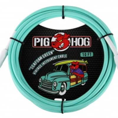"""Pig Hog """"Seafoam Green"""" Instrument Cable, 10ft w/ FREE SAME DAY SHIPPING"""