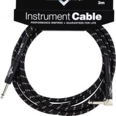 Fender 10' Custom Tweed Angled Instrument Cable in Black