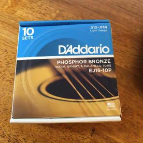 D'Addario EJ16-10P Phosphor Bronze Acoustic Guitar Strings 10-Pack, Light Gauge