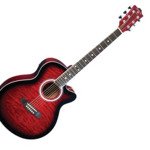 Madison Elite Spruce Quilt Top Acoustic Electric Guitar in Red by Indiana for sale