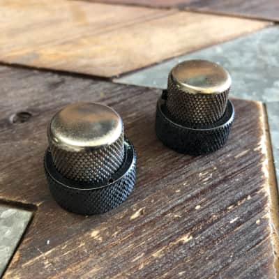 Fender Jazz Bass Concentric Knob Set Black and Nickel Relic Same Size as Fender