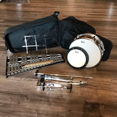 Used Pearl Student Percussion Learning Center: Snare Drum & Bell Set w/ Rolling Case
