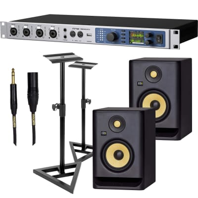 RME Fireface UFX II USB Audio Interface, (2) KRK RP5G4 Monitor, Monitor Stands, (2) Mogami XLR/1/4 10FT Bundle