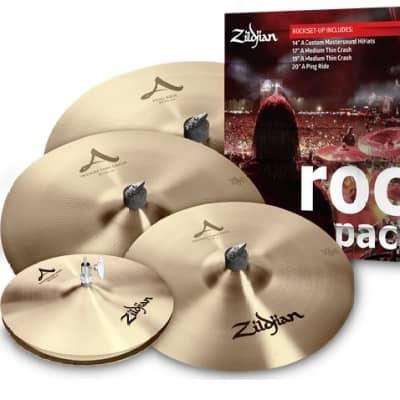 """Zildjian Rock A Pack: 14"""" Mastersound Hats/17&19 Medium Thin Crashes/20"""" Ping Ride +Bag/Shirt/Sticks"""