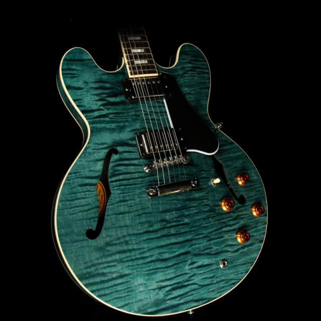 Used Gibson Memphis ES-335 TD Block Figured Electric Guitar Turquoise image