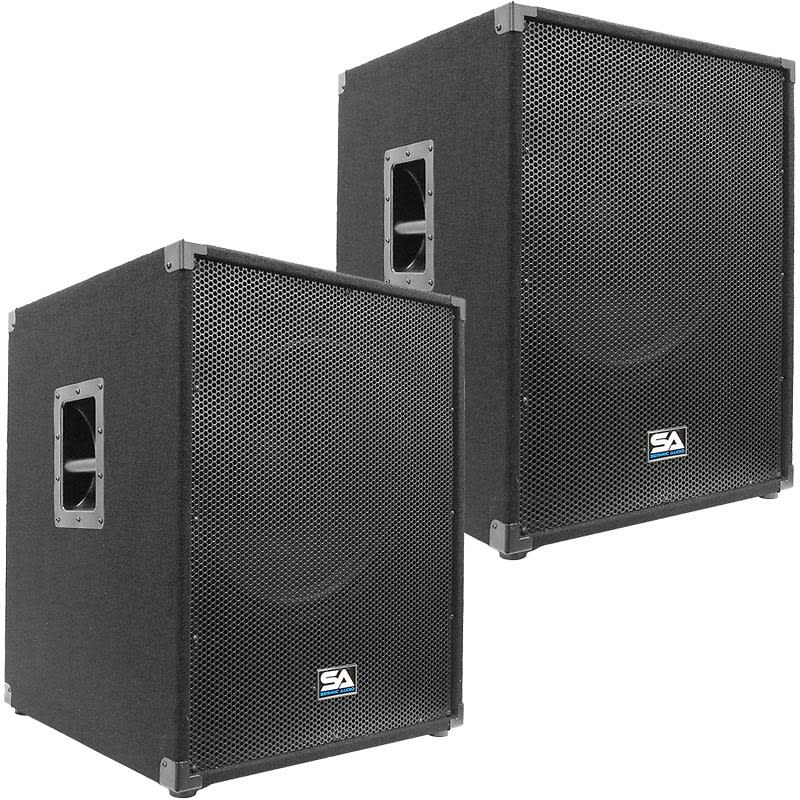 pair of seismic audio 18 pa powered subwoofer active reverb. Black Bedroom Furniture Sets. Home Design Ideas
