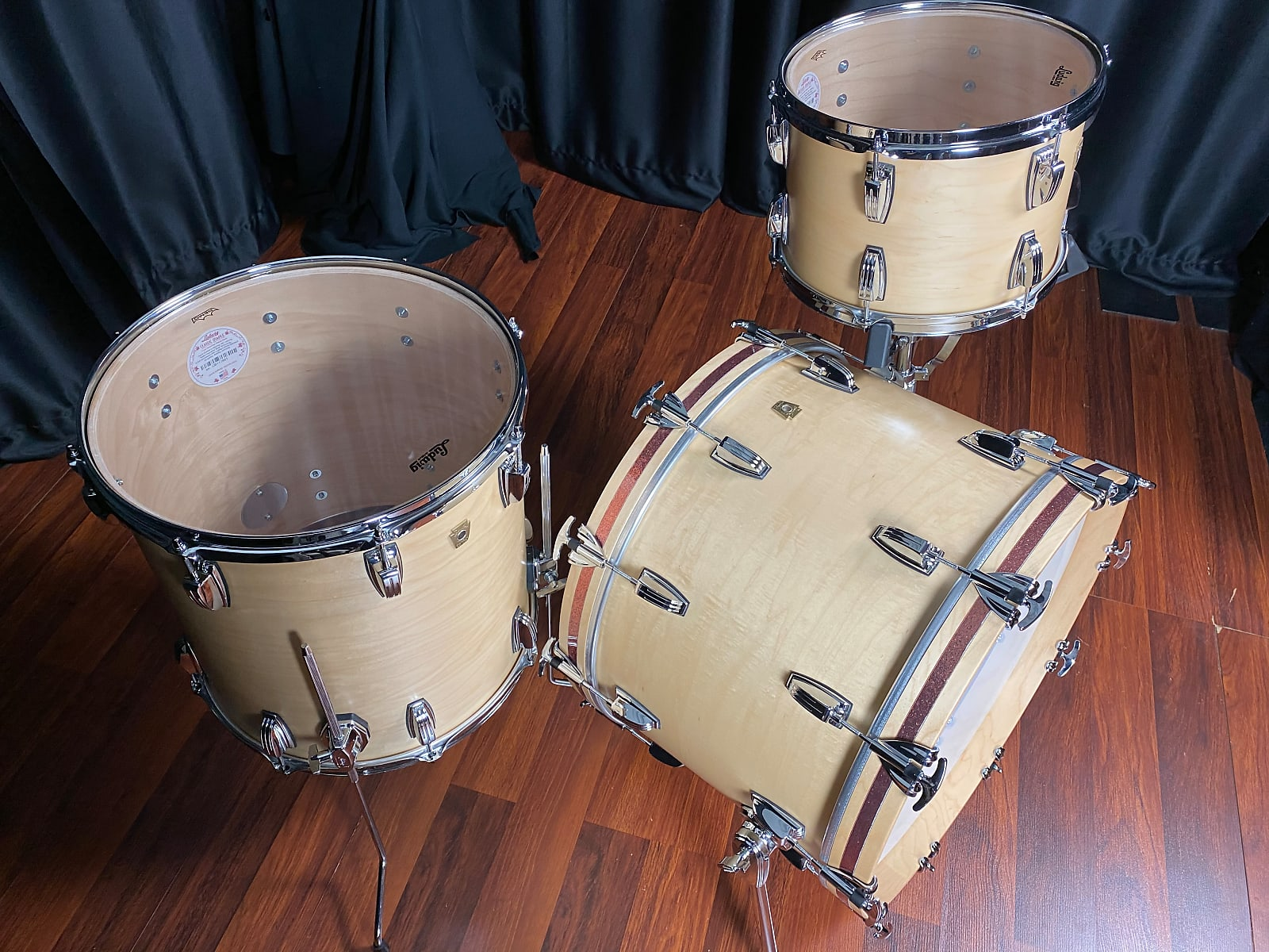 Ludwig Drums sets Classic Maple USA Fab 13, 16, 22 Satin Natural kit w/ accent inlays