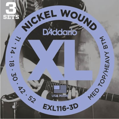 D'Addario EXL116-3D XL Nickel Wound Electric Guitar Strings - Medium Top/Heavy Bottom, 11-52, 3 Pack for sale
