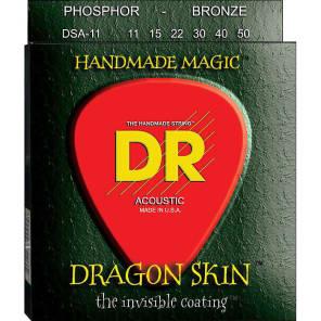 DR DSA-11 Dragon Skin K3 Coated Medium-Light Acoustic Strings (11-50)