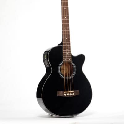 Monterey MAB-315CE Solid Top Acoustic Electric Bass Guitar - Black for sale
