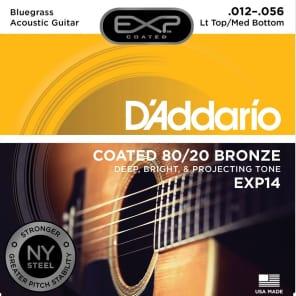 D'Addario EXP14 Coated 80/20 Bronze Acoustic Guitar Strings Light Top/Medium Bottom/Bluegrass 12-56