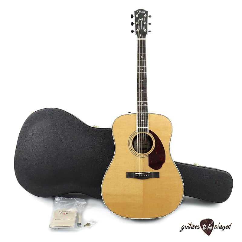 Fender Paramount PM-1 Deluxe Dreadnought A/E Guitar w/ Case - Natural image