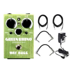 Dunlop Way Huge Green Rhino MKIV Mini Effects Pedal With Patch Cables, Power Supply,Instrument Cable