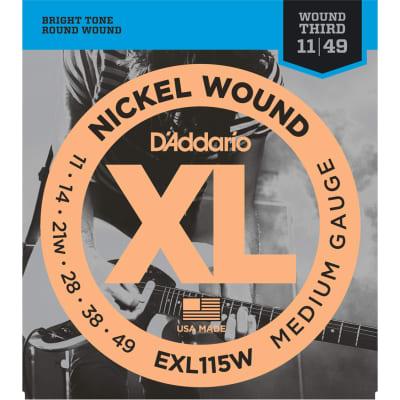D'Addario EXL115W Nickel Wound Medium/Blues-Jazz Rock Wound 3rd 11-49