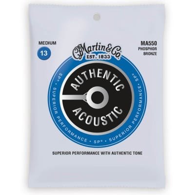 Martin Strings MA550 Phosphor Bronze Authentic Acoustic Guitar Strings Medium 13-56 for sale