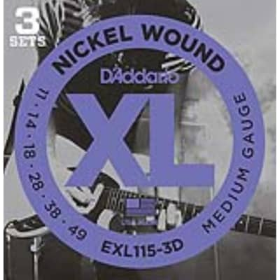 D'Addario EXL115-3D Nickel Wound Electric, Jazz/Blues Rock, 11-49, 3 Pack for sale