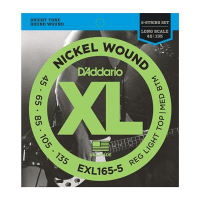 D'Addario EXL165-5 Nickel Wound 5-String Bass, Custom Light, 45-135, Long Scale