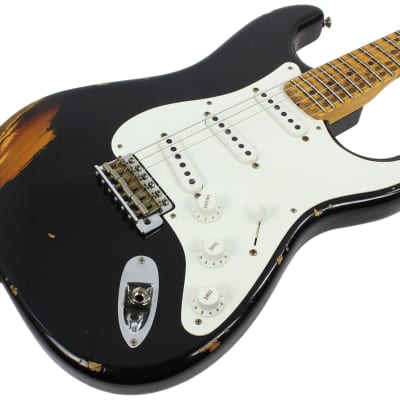 Fender Custom Shop 1955 Heavy Relic Stratocaster - Aged Black over 2-Tone for sale