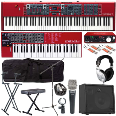 Nord Stage 3 & Lead 4 Package (Quik Lok Double Tier Stand, Behringer 4 Ch Keyboard Amp