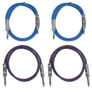 """Seismic Audio SASTSX-2-2BLUE2PURPLE 1/4"""" TS Male to 1/4"""" TS Male Patch Cables - 2' (4-Pack)"""