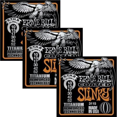ERNIE BALL Coated Titanium RPS Skinny Top/Heavy Bottom Slinky Electric Guitar Strings(3115) -3 Pack