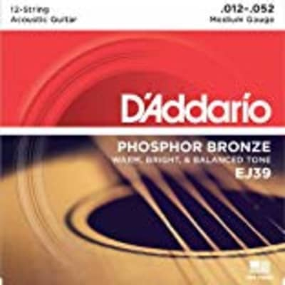 D'Addario EJ39 12-String Phosphor Bronze Acoustic Guitar Strings, Medium, 12-52 for sale