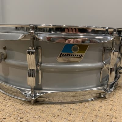 "Upgraded Ludwig Acrolite 5x14"" Aluminum Snare with Rounded Blue/Olive Badge 1980s"