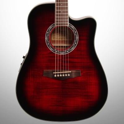 Ibanez PF28ECE Acoustic-Electric Guitar, Transparent Red Sunburst