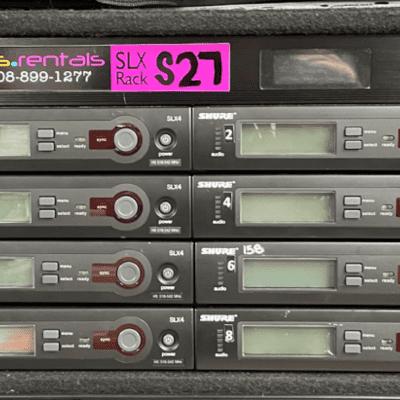 Shure SLX14 Rack of 8 Ex-Rental 8 ea SLX4 rx, SLX1 tx, ADA.28 ant distro, fully cabled, tested H5