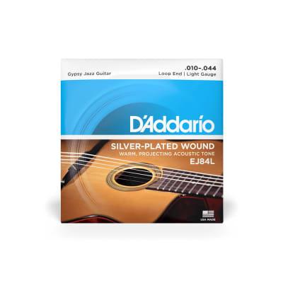 D'Addario EJ84L Light Gauge Silverplated Wound Loop End Gypsy Jazz Guitar Strings 10-44